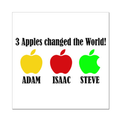 Наклейка (стикер) 3 яблока изменили мир