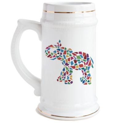 Пивная кружка Слон - мозаика
