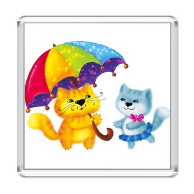 Магнит Котейки с зонтиком