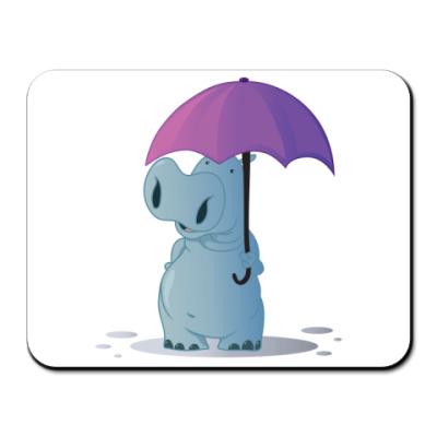 Коврик для мыши бегемотик с зонтом