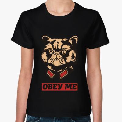 Женская футболка Obey the kitty.
