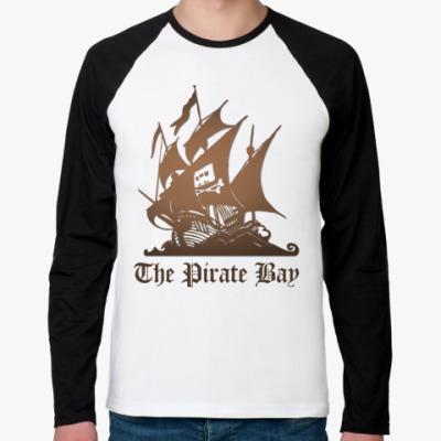 Футболка реглан с длинным рукавом реглан пират the pirate bay