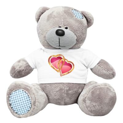 Плюшевый мишка Тедди Два сердца