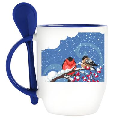 Кружка с ложкой Снегири на рябине