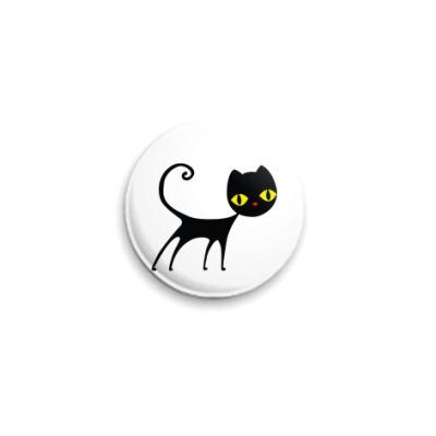 Значок 25мм Черный кот