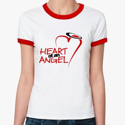 Женская футболка Ringer-T Heart of an angel
