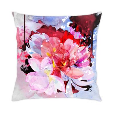 Подушка Красивые акварельные цветы