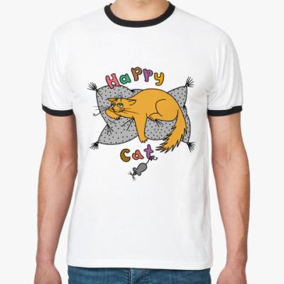 Футболка Ringer-T Happy cat