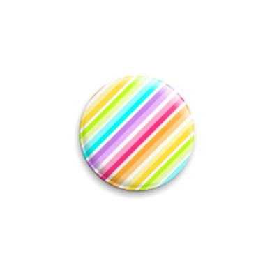 Значок 25мм  Rainbow Stripes