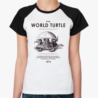 Женская футболка реглан  World Turtle