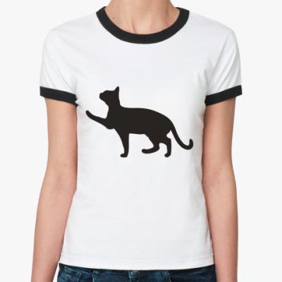 Женская футболка Ringer-T Черная кошка