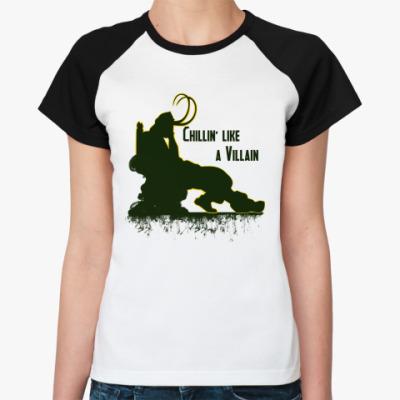 Женская футболка реглан Chillin like a villain