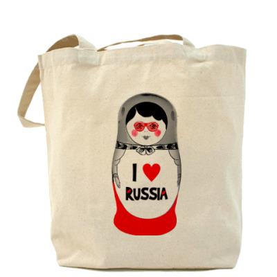Сумка Холщовая сумка I love Russia