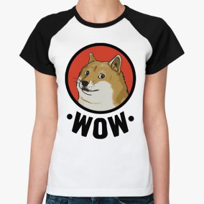 Женская футболка реглан Лайка WOW