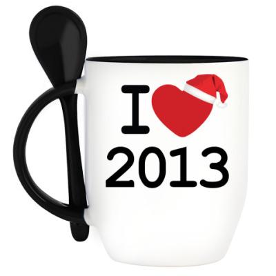 Кружка с ложкой Новогодний принт I Love 2013
