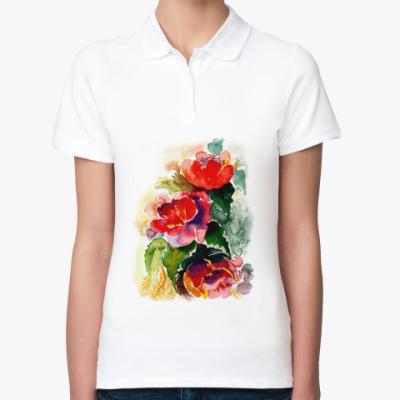 Женская рубашка поло Роскошные пионы