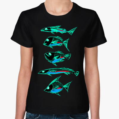 Женская футболка Абстрактные рыбы