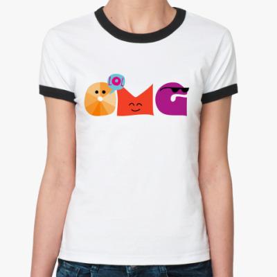 Женская футболка Ringer-T   OMG