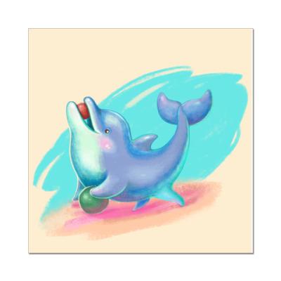 Наклейка (стикер) Дельфин - песик