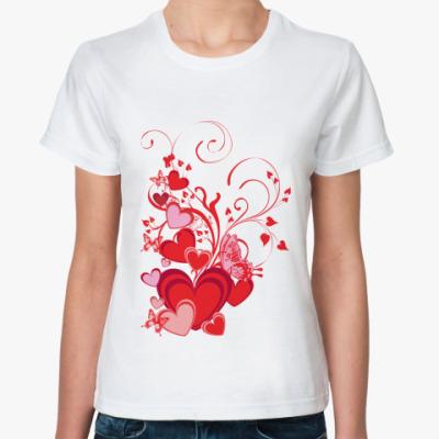 Классическая футболка Сердечки и бабочки