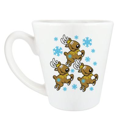Чашка Латте Олени с бубенцами