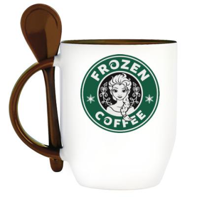 Кружка с ложкой Frozen coffee
