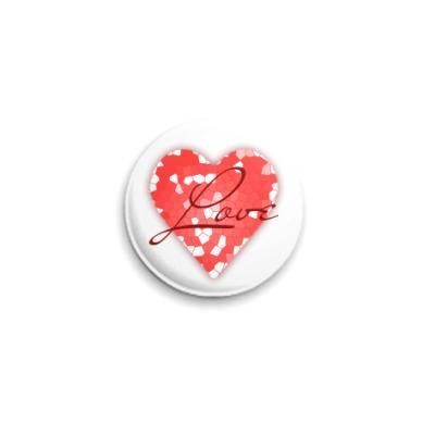 Значок 25мм Сердце из кусочков