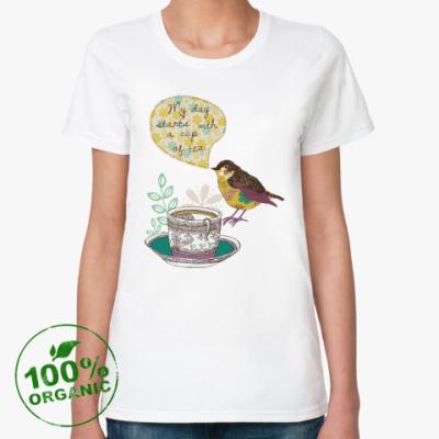 Женская футболка из органик-хлопка My day starts with cup of tea