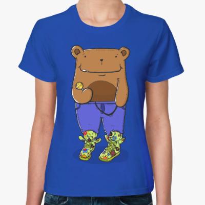 Женская футболка Прикольный Медведь