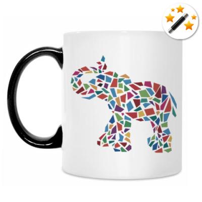 Кружка-хамелеон Слон - мозаика