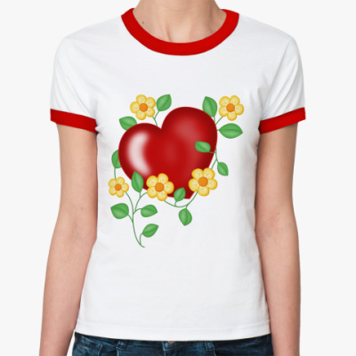 Женская футболка Ringer-T Сердце и цветы