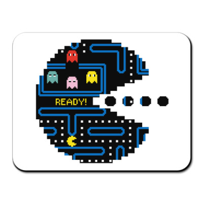 Коврик для мыши Pac-Man. PacMan. ПакМан. ПакМен. Pixels. Ready!