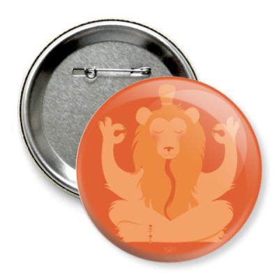 Значок 75мм Animal Zen: L is for Lion