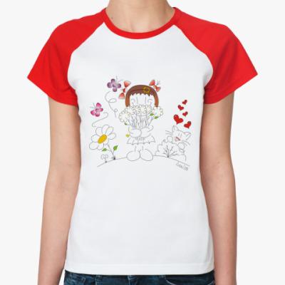 Женская футболка реглан 'Валентинка'