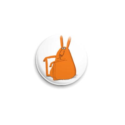 Значок 25мм  25 мм Толстый кролег