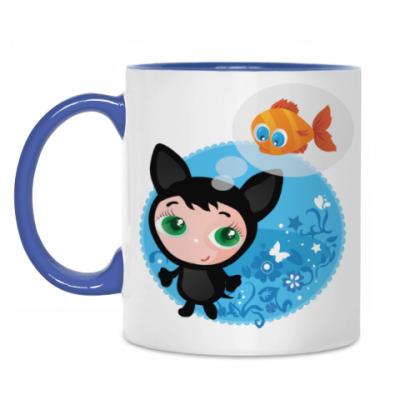 Кружка Котенок мечтающий о рыбке