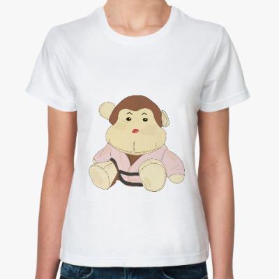 Классическая футболка  обезьянка-каратист