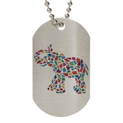 Жетон dog-tag Слон - мозаика