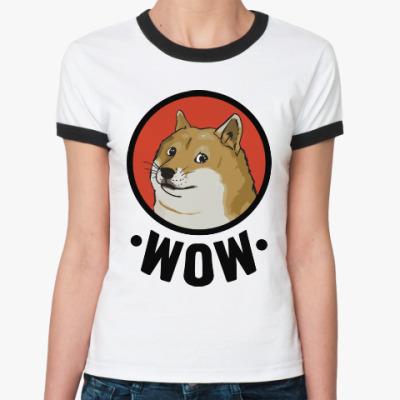 Женская футболка Ringer-T Лайка WOW