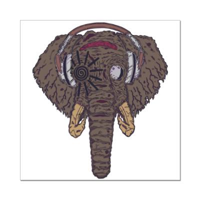 Наклейка (стикер) Слон в наушниках