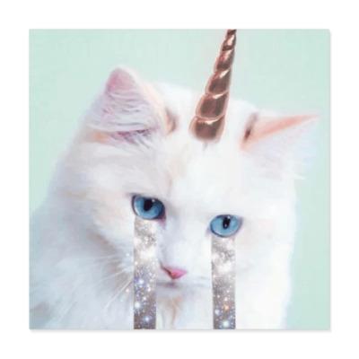 Виниловые наклейки котик единорог
