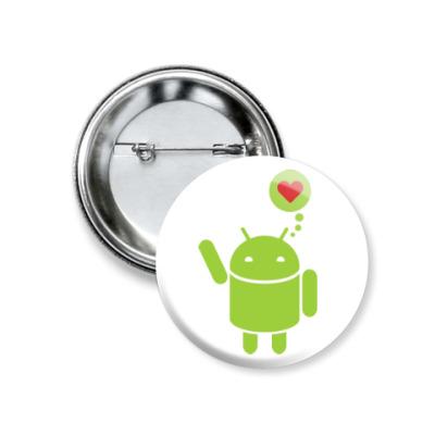 Значок 37мм Love Android