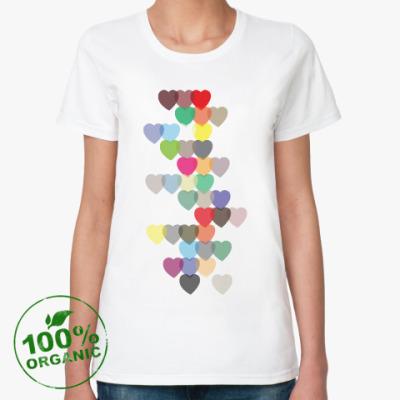 Женская футболка из органик-хлопка Сердечки