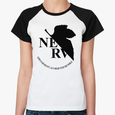 Женская футболка реглан Neon Genesis Evangelion NERV