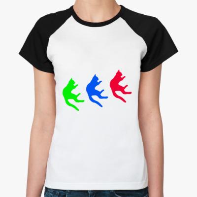 Женская футболка реглан Падающие коты