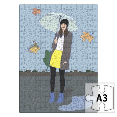 Пазл девушка с зонтом