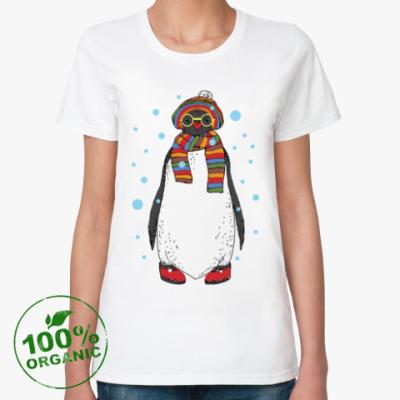 Женская футболка из органик-хлопка Новогодний пингвин в шапке