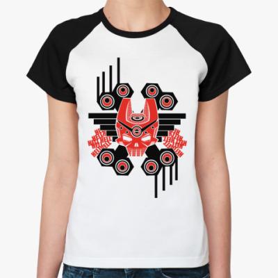 Женская футболка реглан Hell  Ж (бел/чёрн)