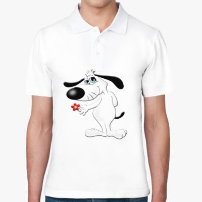 Рубашка поло Собачка с цветком