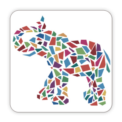 Костер (подставка под кружку) Слон - мозаика